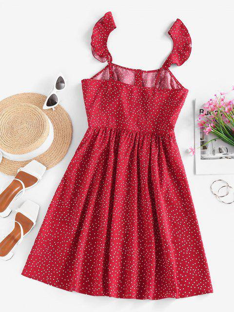 unique ZAFUL Ditsy Polka Dot Ruffle Button Front Dress - RED XL Mobile
