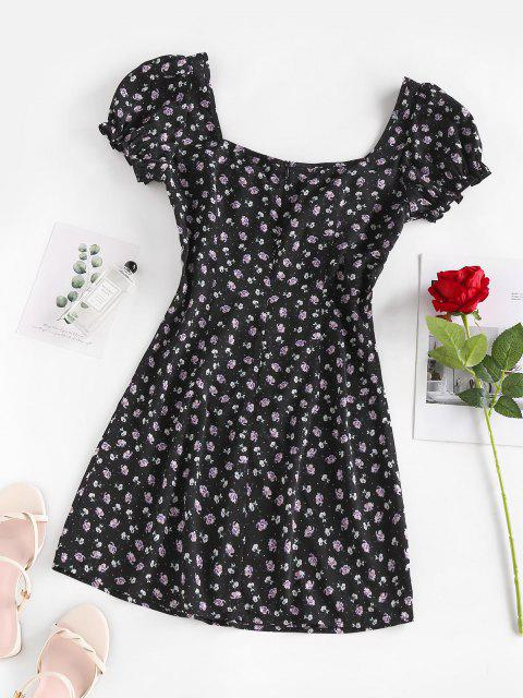 new ZAFUL Puff Sleeve Floral Print Mini Dress - BLACK S Mobile