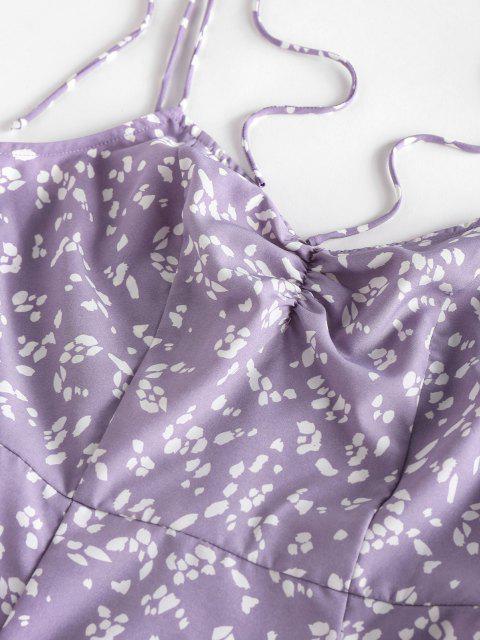ZAFUL Ditsydruck Gebundenes Schulter Cami Schlitz Kleid - Helles Lila M Mobile