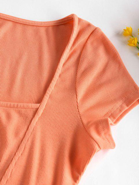 affordable ZAFUL Ribbed Square Neck Crop Tee - ORANGE S Mobile