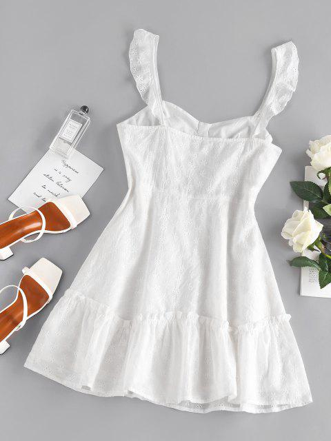 best ZAFUL Embroidered Floral Cupped Mini Dress - WHITE M Mobile