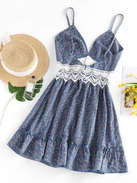 ladies ZAFUL Ditsy Floral Crochet Panel Flounce Cami Dress - BLUE M Mobile