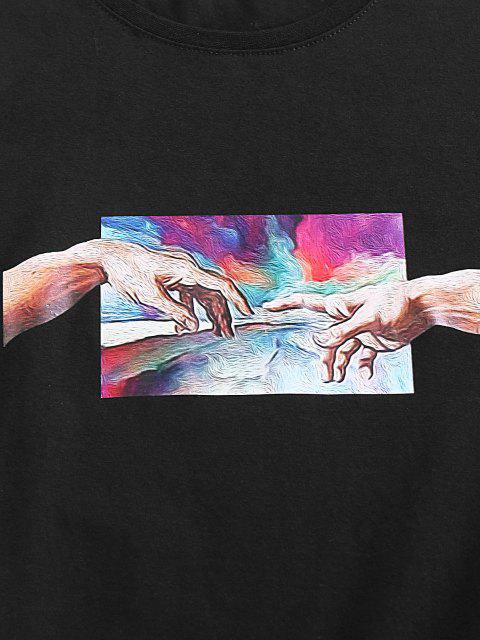 ladies ZAFUL Hand Painting Print Short Sleeve Basic T-shirt - BLACK S Mobile
