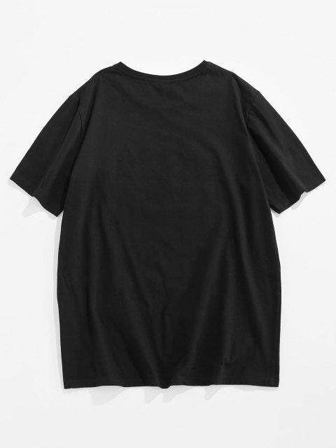 ZAFUL Hand Painting Print Short Sleeve Basic T-shirt - أسود S Mobile