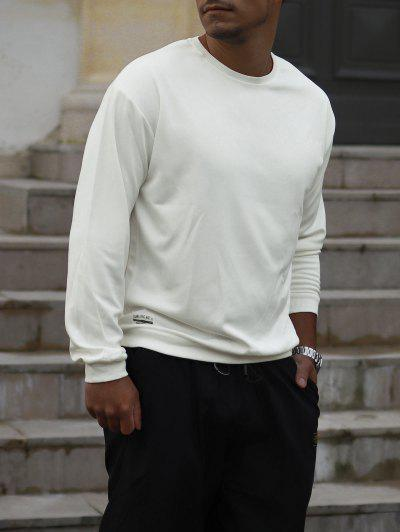 Pure Color Pullover Sweatshirt - White S