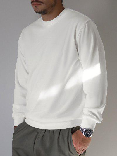 Pure Color Drop Shoulder Crew Neck Sweatshirt - White Xs
