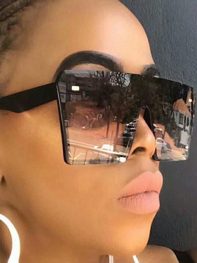 Oversize Square Frame Flat-Top Futuristic Sunglasses - Black
