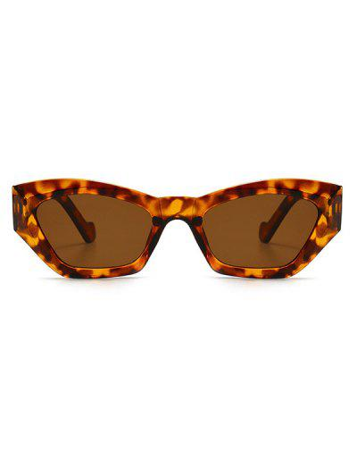 Retro Eye Frame Angular Sunglasses - Leopard