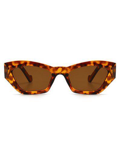 Retro Eye Frame Angular Sunglasses - Leopard