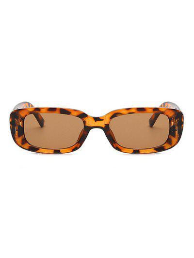 Rectangle Frame Anti UV Slim Sunglasses - Leopard
