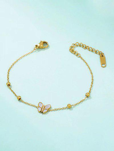Butterfly Shell Beads Chain Bracelet - Golden