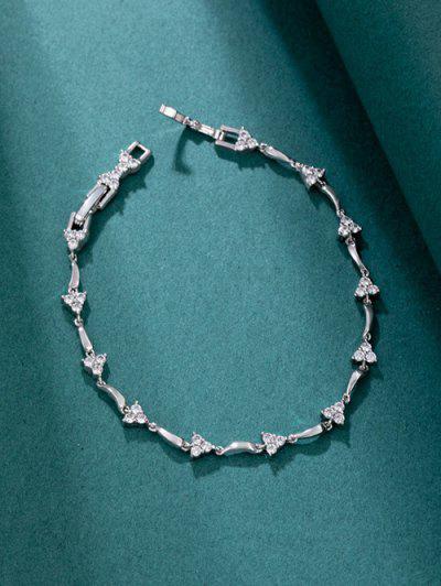 Rhinestone Triangle Chain Bracelet - Silver