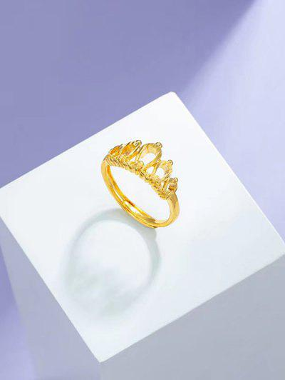 Crown Gold Plated Adjustable Ring - Golden