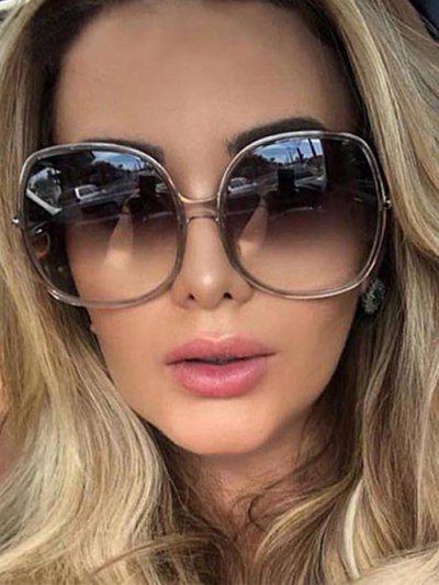 Classic Round Frame Oversize Sunglasses - Light Gray