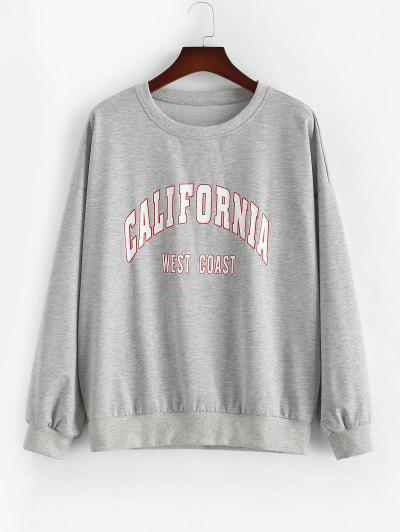 ZAFUL Plus Size Crewneck California Graphic Marled Sweatshirt - Light Gray 2xl