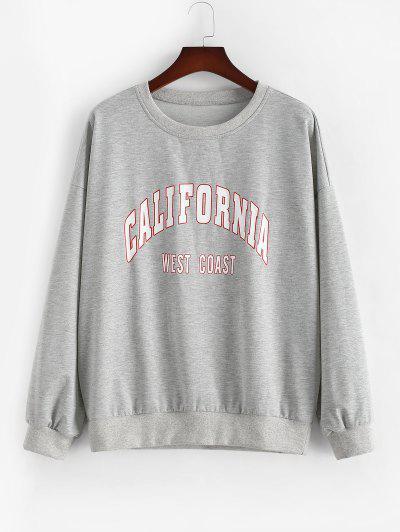 ZAFUL Plus Size Crewneck California Graphic Marled Sweatshirt - Light Gray 5xl