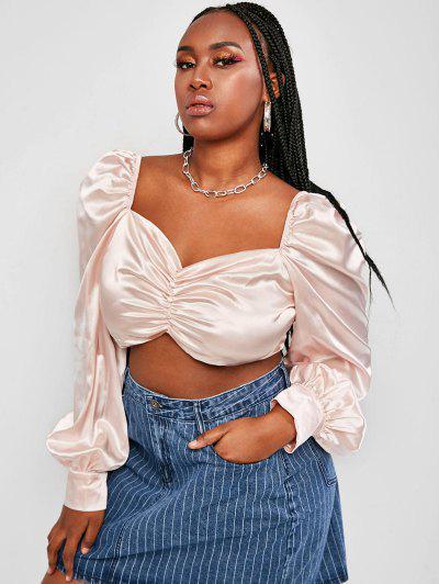 Plus Size Satin Mock Button Ruched Crop Blouse - Light Pink 2xl