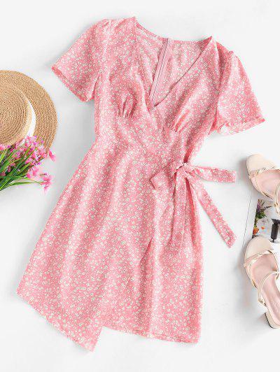 ZAFUL Ditsy Floral Asymmetric Bowknot Dress - Light Pink L