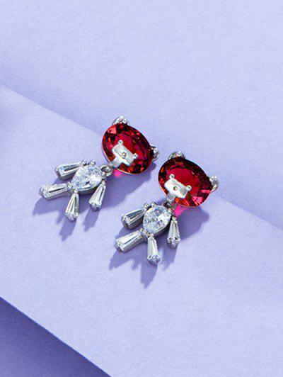 Bear Shape Zircon Inlay Earrings - Silver