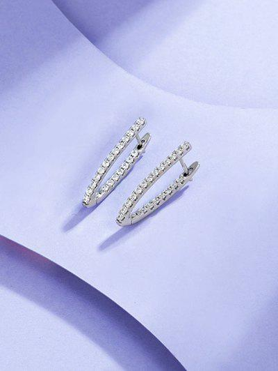 V Shape Zircon Earrings - Silver