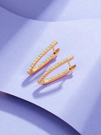 V Shape Zircon Earrings - Rose Gold