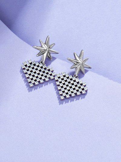 Star Heart-shaped Multi Zircon Earrings - Silver