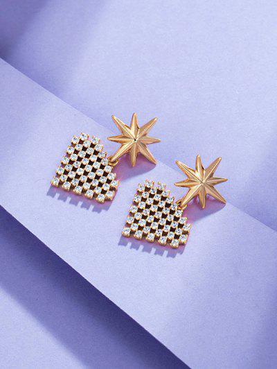 Star Heart-shaped Multi Zircon Earrings - Golden