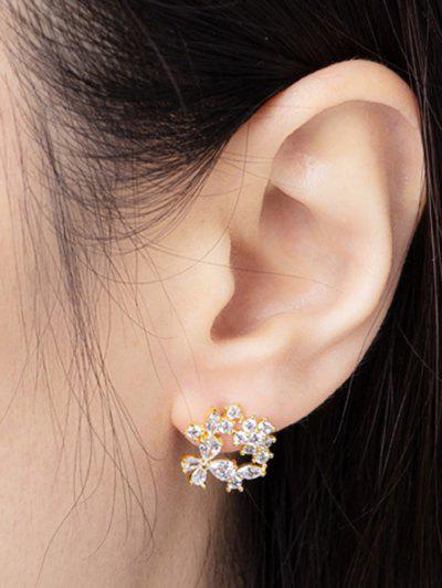 Zircon Inlaid Floral Stud Earrings - Golden