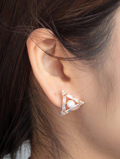 Triangle Faux Pearl Zircon Stud Earrings - Golden