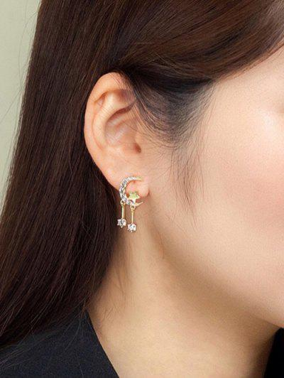 Moon Star Zircon Inlay Earrings - Golden