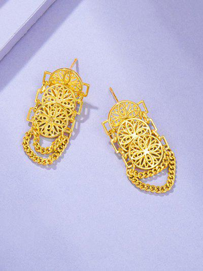 Hollow Out Chains Drop Earrings - Golden