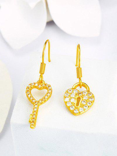 Key Lock Asymmetric Drop Earrings - Golden