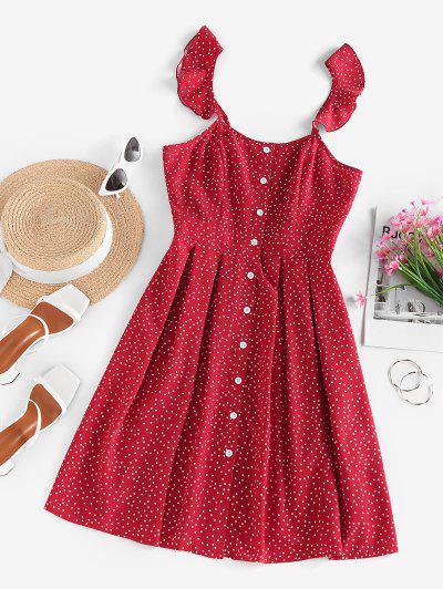 ZAFUL Ditsy Polka Dot Ruffle Button Front Dress - Red S