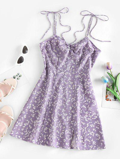 ZAFUL Ditsy Print Tied Shoulder Cami Slit Dress - Light Purple Xl