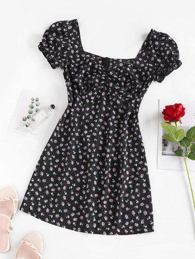 ZAFUL Puff Sleeve Floral Print Mini Dress - Black M