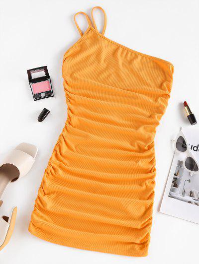 ZAFUL Ribbed Ruched One Shoulder Bodycon Dress - Orange M