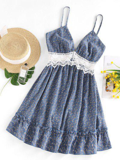 ZAFUL Ditsy Floral Crochet Panel Flounce Cami Dress - Blue M
