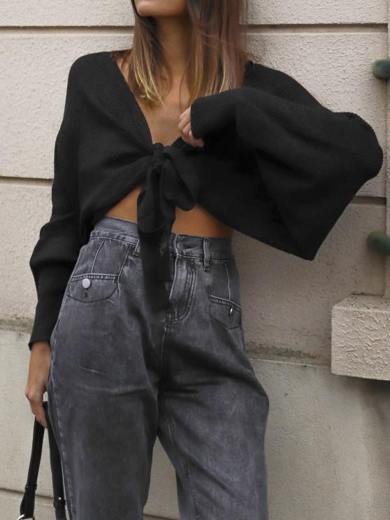 sale ZAFUL Batwing Sleeve Self Tie Cropped Cardigan - BLACK ONE SIZE
