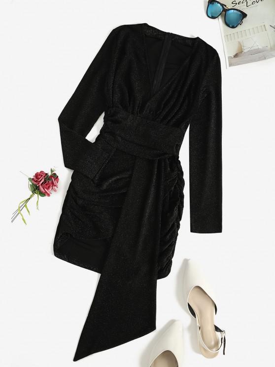 fashion Glitter Ruched Slinky Draped Dress - BLACK S
