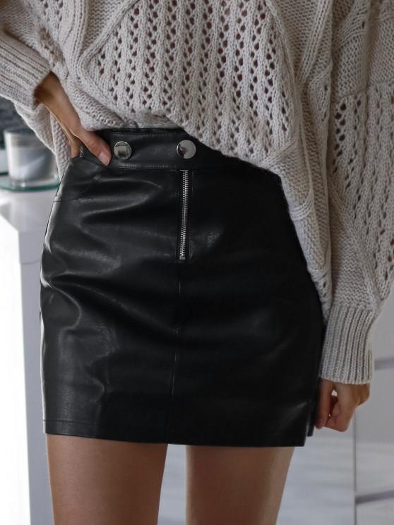 trendy Studded Half Zip PU Leather Mini Skirt - BLACK M