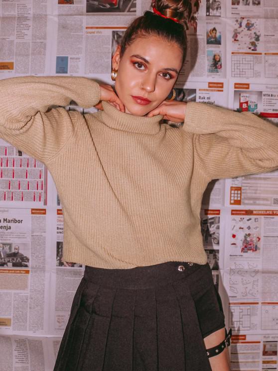 ZAFUL Turtleneck Plain Crop Sweater - ضوء الكاكي M