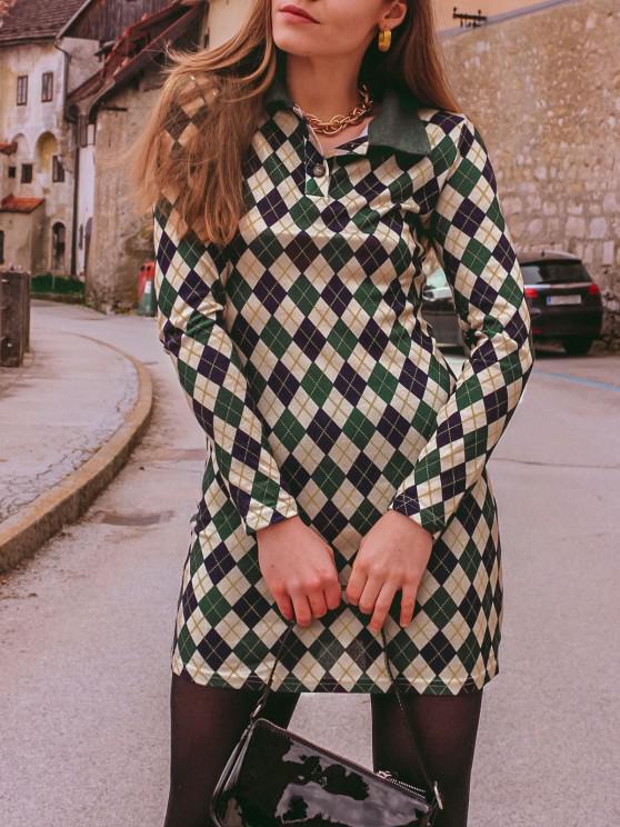 ladies ZAFUL Long Sleeve Button Front Jersey Argyle Dress - DEEP GREEN XL