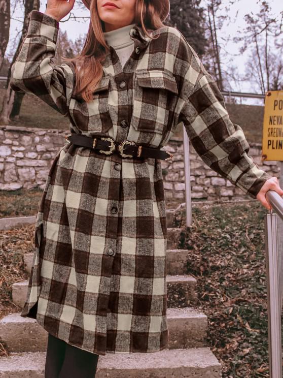 lady ZAFUL Flap Pockets Plaid Wool Blend Coat - COFFEE L
