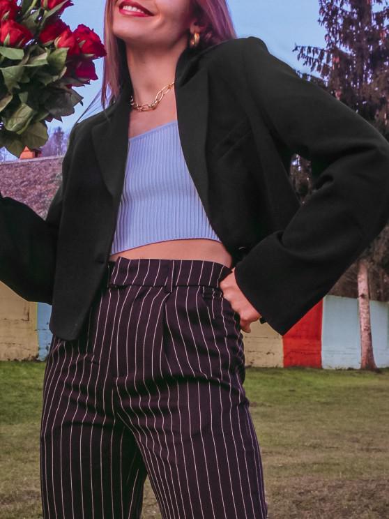 outfit Padded Shoulder One Shoulder Lapel Blazer - BLACK M