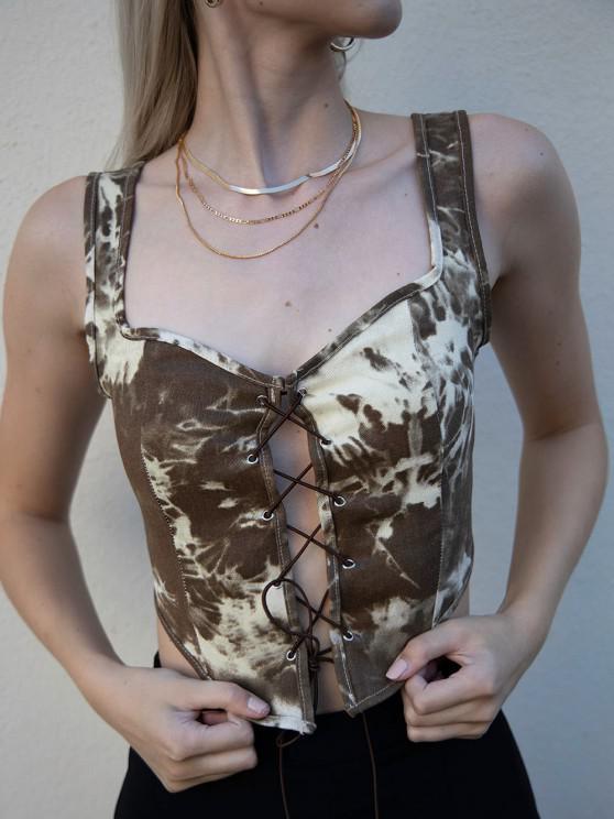 buy Sweetheart Tie Dye Lace Up Crop Top - DEEP COFFEE M