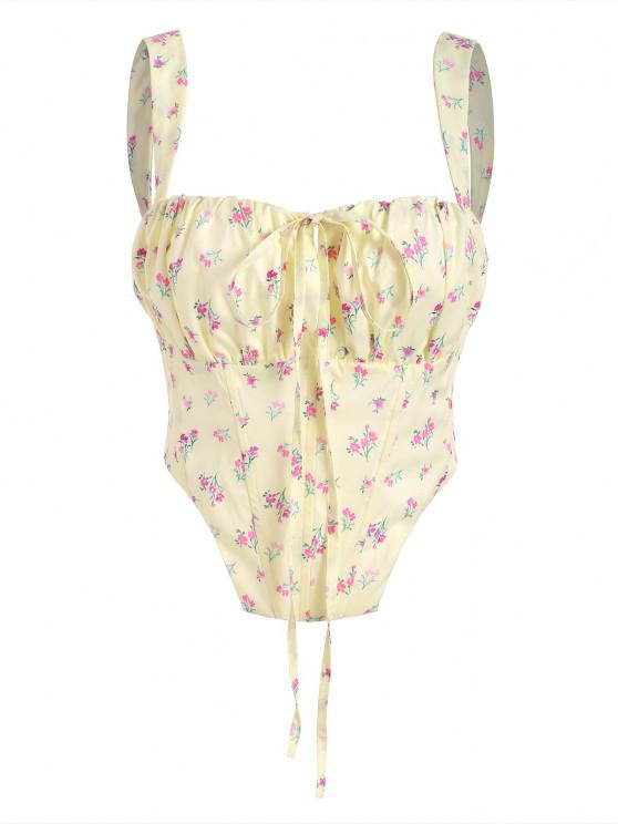 trendy Floral Zip Back Boned Ruched Crop Top - LIGHT YELLOW L