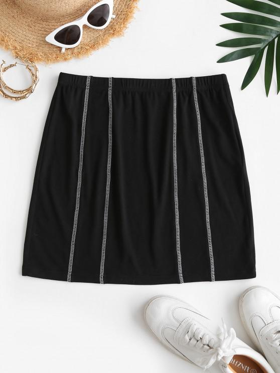 chic ZAFUL Mini Overlock Stitching Bodycon Skirt - BLACK S