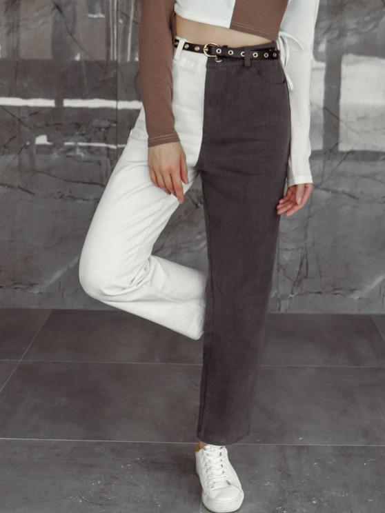 shops ZAFUL Bicolor Twill Straight Pants - MULTI-A M