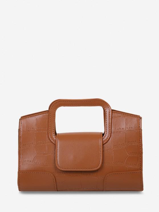 shop Embossed Cut Out Dual Handle Crossbody Bag - LIGHT BROWN
