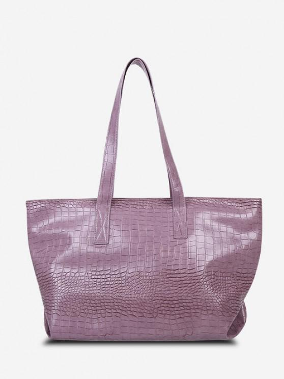 unique Minimalistic Large Capacity Embossed Tote Bag - LILAC